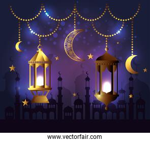 lamps with moons hanging decoration to festival