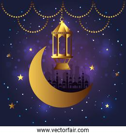 lamp with castle and moon hanging decoration
