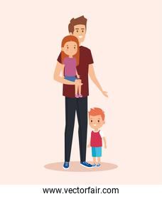 cute man carrying his daughter and son