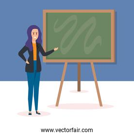 woman teacher with blackboard to celebrate event