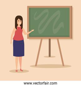 woman teacher with hairstyle and elegant clothes