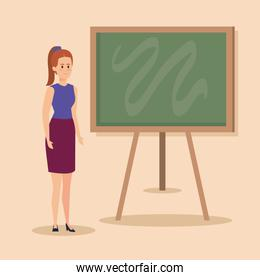 woman teacher with elegant clothes and hairstyle