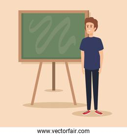 man teacher with blackboard and hairstyle design