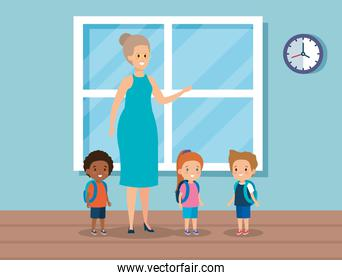 woman teacher with kids in the class and window