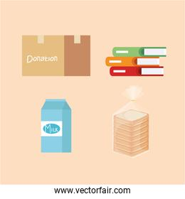 set box donation with books and milk box and bread