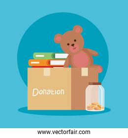 teddy and books inside box donation and moneybox