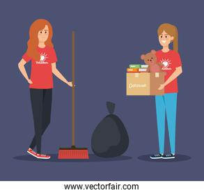 girl with boxes donation and broom with trash bag