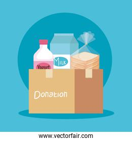 box donation with yogurt and milk with bread