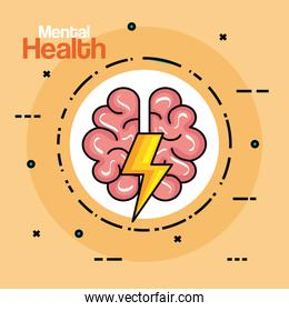 label with health brain creative with thunder