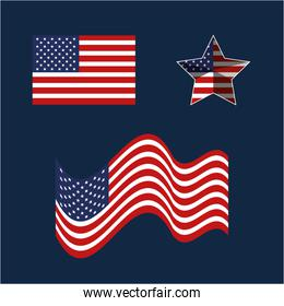 set usa flags and star emblem to holiday