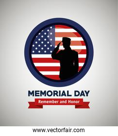 label with soldier and usa flag to memorial day