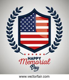 emblem usa flag with branches leaves to celebration