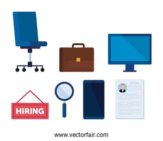 set briefcase with computer and curriculum vitae