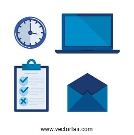 set document check list with laptop and clock