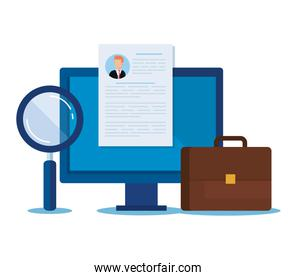 computer with curriculum vitae and magnifying glass