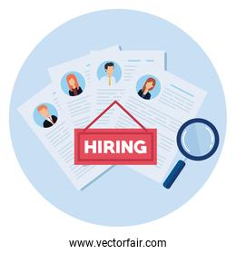 hiring with curriculum vitae and magnifying glass
