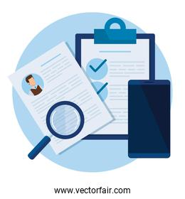 curriculum vitae with magnifying glass and smartphone