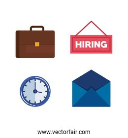 set briefcase with clock and hiring letter