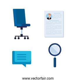 set curriculum vitae wih chat bubble and magnifying glass
