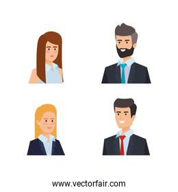 set professional businesspeople elegant executive with hairstyle