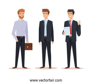 professional elegant businessmen with documents and briefcase