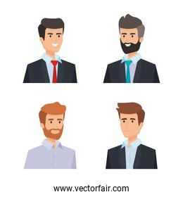 set professionalbusinessman with shirt and hairstyle
