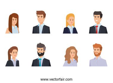set professional businessmen and businesswomen with hairstyle
