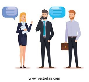 professional businesspeople with chat bubble and briefcase