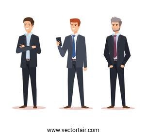 set professional businessmen with company documents success