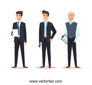 set businessmen with professional company success
