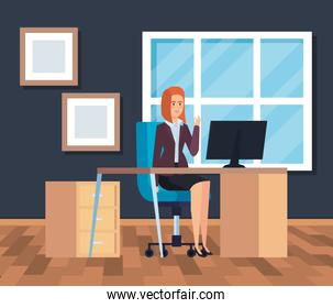 executive businesswoman with computer in the desk and diploma