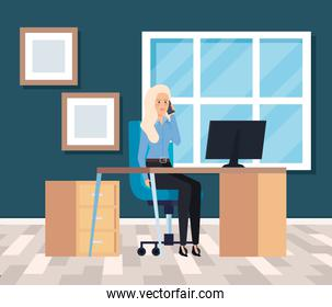 professional businesswoman with computer in the desk and diplomas