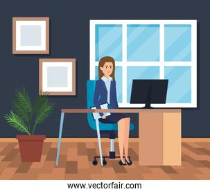 executive businesswoman in the office with computer and diplomas
