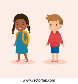 boy and girl with fashion casual clothes