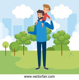 happy man with his son child and trees