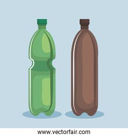 toxic plastic bottles over blue background