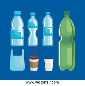 set of bag with toxic plastic bottles and cups