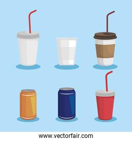 set of toxic plastic cups with cans waste