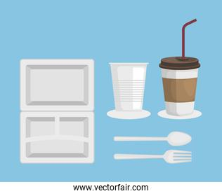 set of plastic plate with cups and spoon with fork over blue background