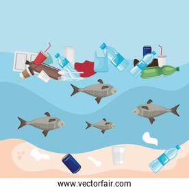 toxic plastics in the sea and fishes animals contamination