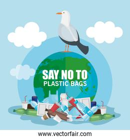 plastics waste pollution and dove bird