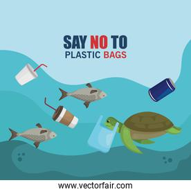 plastics waste in the sea and animals contamination