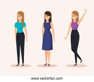 set of happy women with casual clothes and hairstyle
