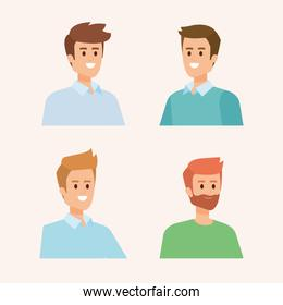 set of happy men head with hairstyle and casual clothes