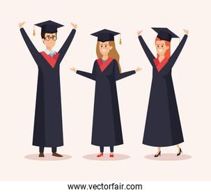 happy women and man graduation with rope and cap