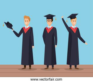 men university friends graduation with rope and cap
