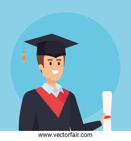 man university graduation with rope and academic diploma