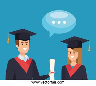 woman and man graduation with diploma and chat bubble