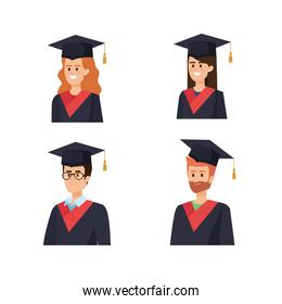 set of woman and man graduation with rope and cap