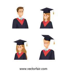set of man and woman university graduation with rope